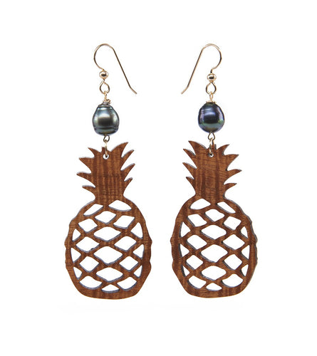 Koa Pineapple Pearl Gold Earrings