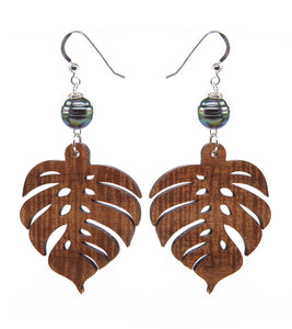 Koa Monstera Pearl Silver Earrings