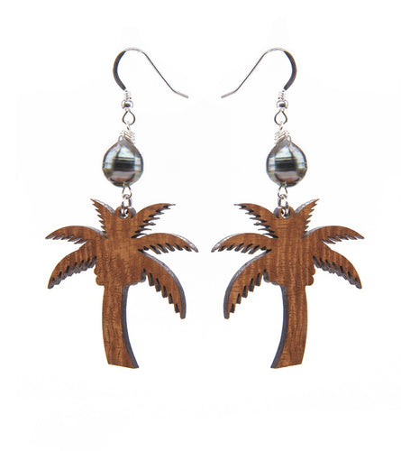 Koa Palm Tree Pearl Silver Earrings