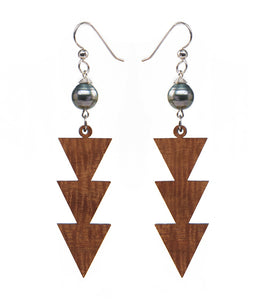 Koa Triple Triangle Silver Earrings