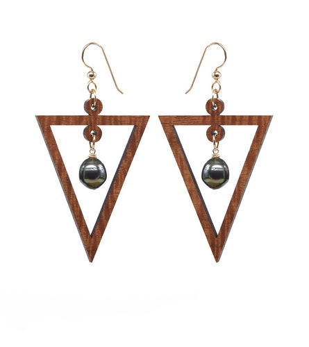 Koa Pearl Drop Triangle Gold Earrings