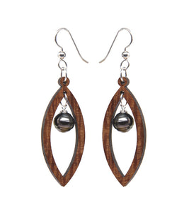 Koa Oval Pearl Silver Earrings