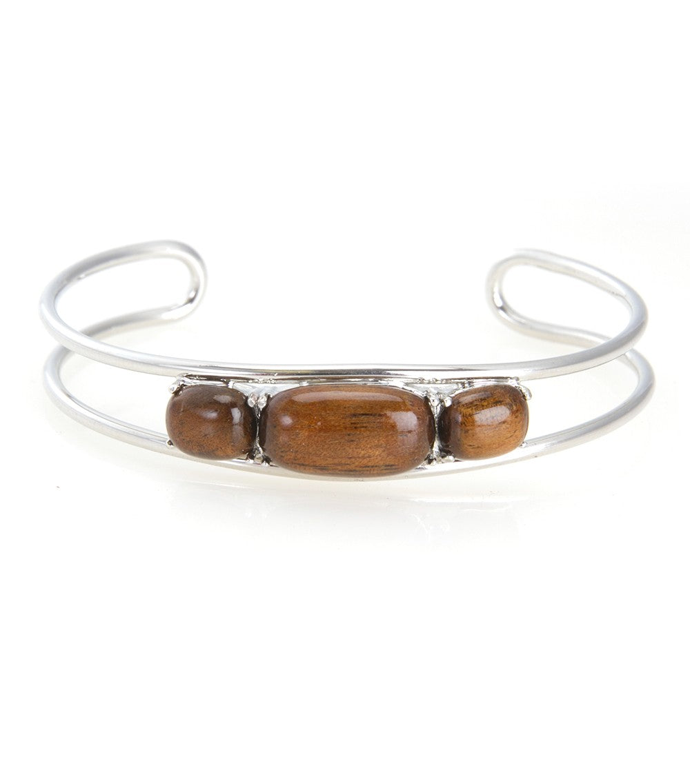 Koa Cuff Bangle Rhodium