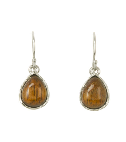 Koa Single Tear Earrings Rhodium