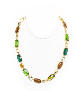 Koa & Green Glass Necklace