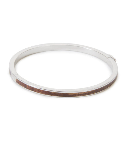 Skinny Koa Bangle Rhodium