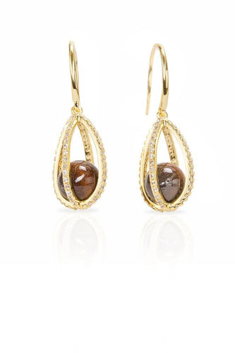 Koa Ball CZ Drop Earrings