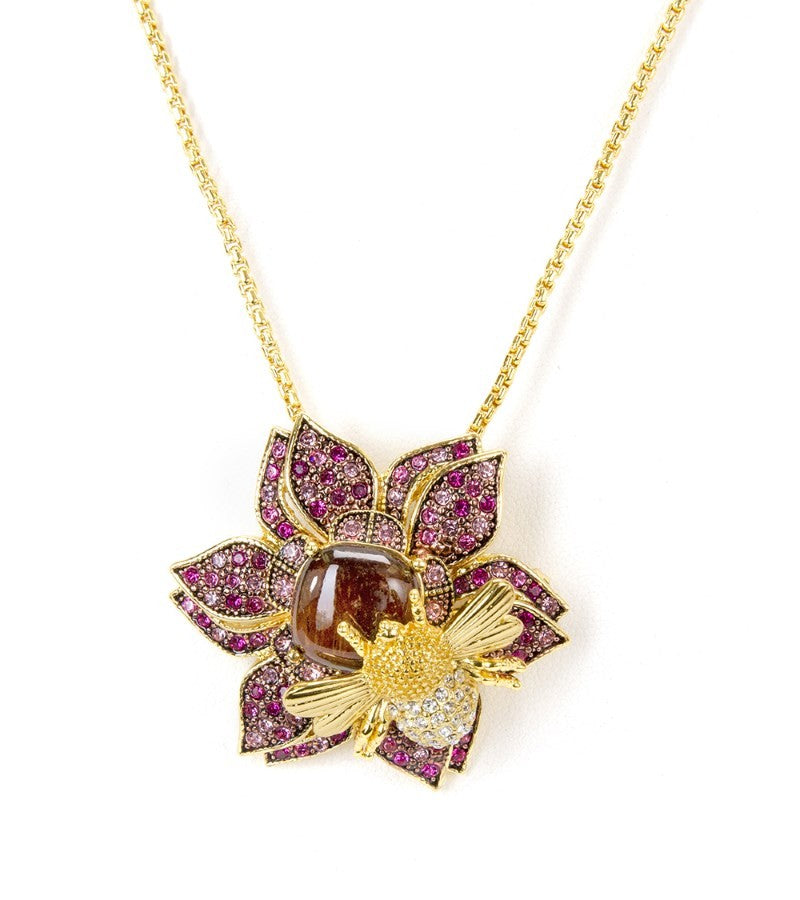 i bee accent pendant tdw h diamond necklace overstock rose today shipping bumble jewelry free watches product gold