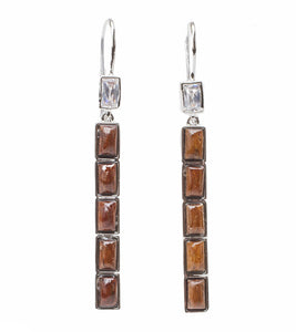 Koa Vertical CZ Earrings Rhodium Koa Fine Jewelry