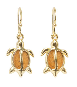 Koa Petro Gold Honu Earrings