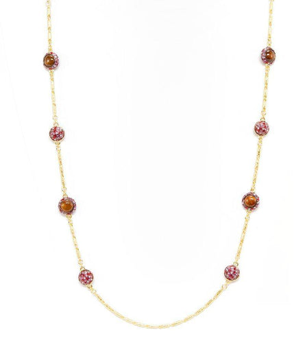 Gold Strand Necklace with Rose and Koa Beads