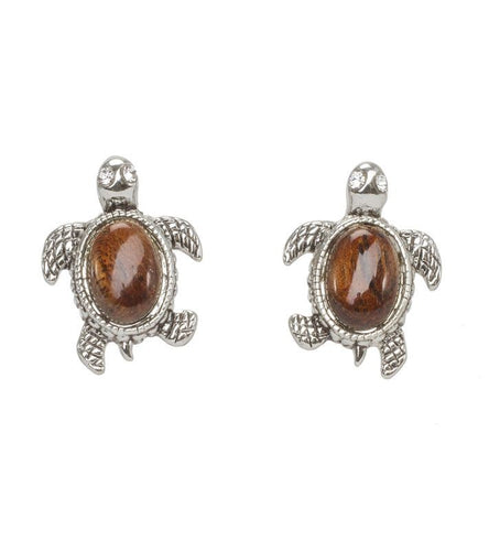 Koa Rhodium Turtle Earrings