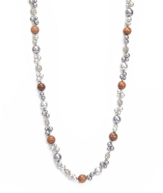 Ali'i Rhodium Long Pearl Necklace