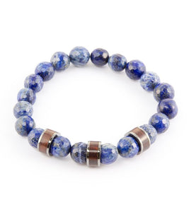 Koa Barrel & Blue Stretch Bracelet
