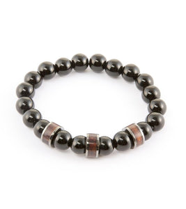 Koa Barrel & Onyx Stretch Bracelet