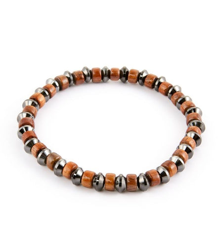 Koa Tire Bead & Hematite Stretch Bracelet