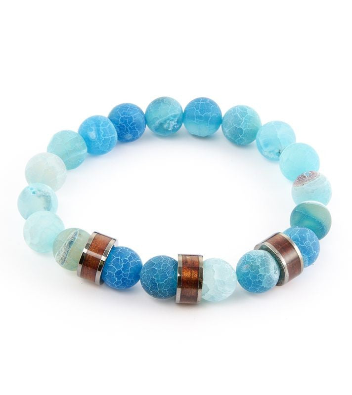 Koa Barrel & Ocean Blue Stretch Bracelet