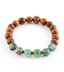 Koa Green Agate Stretch Bracelet