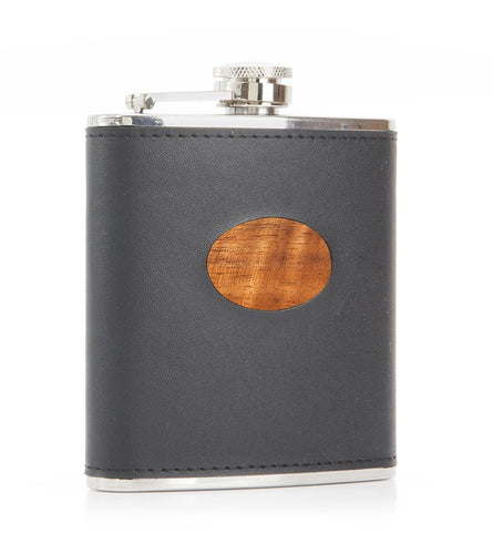 Koa-Leather Oval Flask