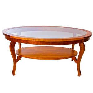 Oval Glass Top Coffee Table With Corbel Shelf Ovcftgls3 Martin