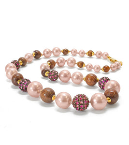 Koa Pearl Necklace in Lehua Red
