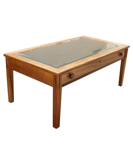 Plantation Display with Glass Top and Drawer Coffee Table (PLDCFTGLS2)