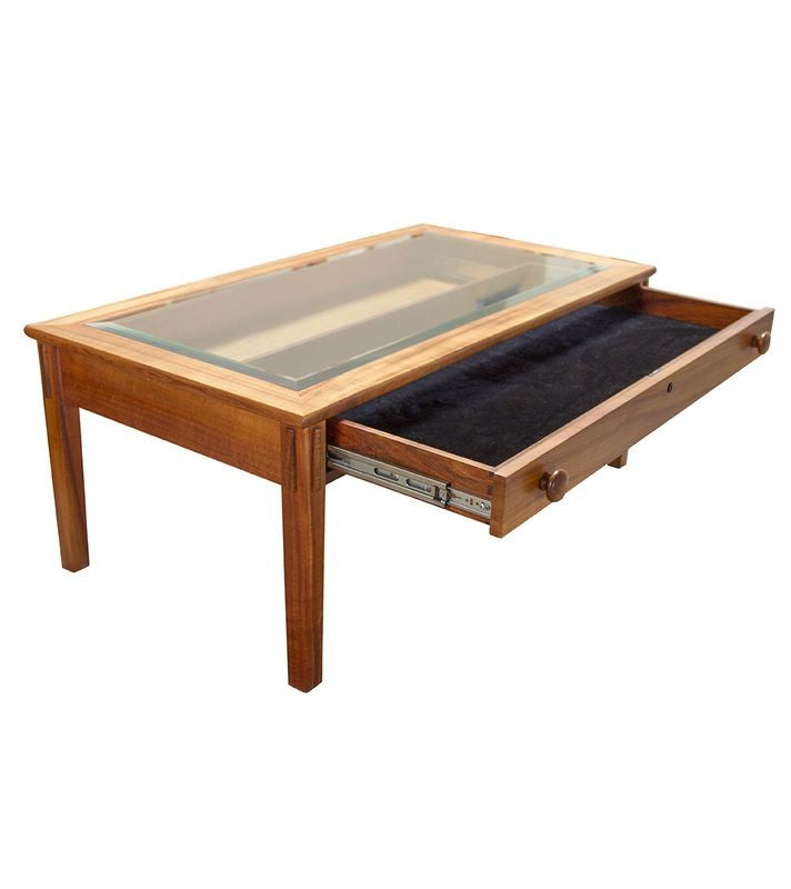 Glass Top Coffee Table With Drawers: Plantation Display With Glass Top And Drawer Coffee Table