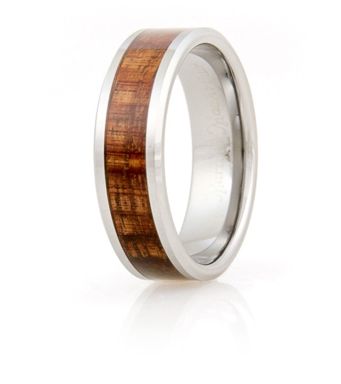 Koa Eternity Ring Beveled