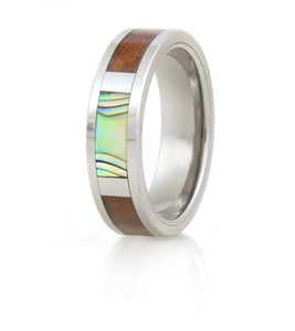 Koa Eternity Ring - Pau'a Shell