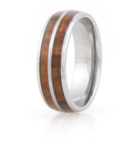 Koa Eternity Ring - Curved Striped