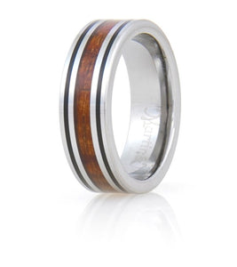 Koa Eternity Ring - Black Stripe