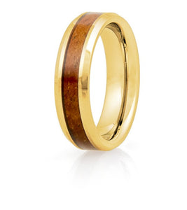 Koa Eternity Ring - Beveled Gold