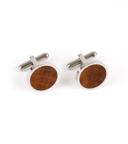 Koa Cuff Links - Round