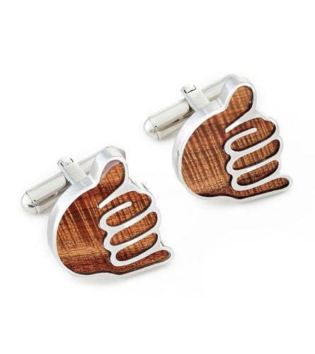 Koa Shaka Cuff Links