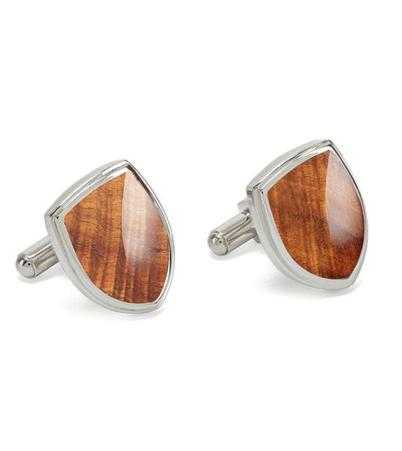 Koa Shield Cuff Links
