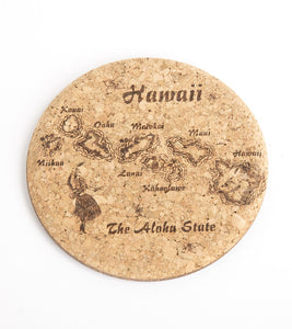 Map of Hawaii Cork Coaster