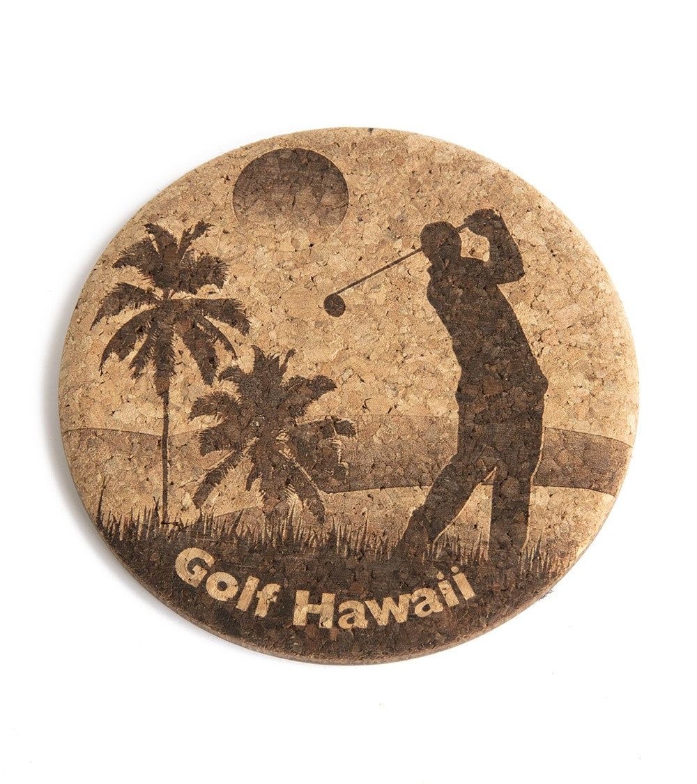 Golfing in Sunset Cork Coaster