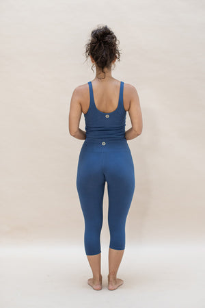 Load image into Gallery viewer, Woman standing, wearing Ananda capri colour French Blue