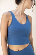 Woman wearing Ananda Top colour French Blue