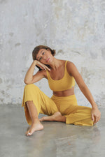 Woman wearing Boxy Crop Saffron