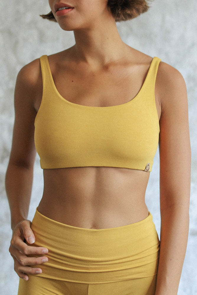Load image into Gallery viewer, Woman wearing Boxy Crop Saffron