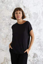 Woman wearing Layer Tee Black