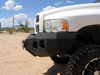 2002-2005 Dodge 1500 Front Base Bumper - Iron Bull Bumpers - FRONT IRON BUMPER - Metal bumper for heavy duty trucks Perfect for CITY/OFF-ROAD applications with Light Buckets and Winch Mount included