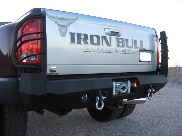 2003-2009 Dodge 2500/3500 Rear Base Bumper - Iron Bull Bumpers - REAR IRON BUMPER - Metal bumper for heavy duty trucks Perfect for CITY/OFF-ROAD applications with Light Buckets and Winch Mount included