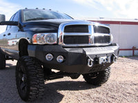 2003-2005 Dodge 2500/3500 Front Base Bumper - Iron Bull Bumpers - FRONT IRON BUMPER - Metal bumper for heavy duty trucks Perfect for CITY/OFF-ROAD applications with Light Buckets and Winch Mount included