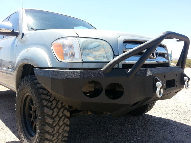 2003-2006 Toyota Tundra (4 Door Only) Front Base Bumper - Iron Bull Bumpers - FRONT IRON BUMPER - Metal bumper for heavy duty trucks Perfect for CITY/OFF-ROAD applications with Light Buckets and Winch Mount included