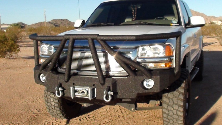 1999-2002 GMC 1500 Front Base Bumper (5 OR 6 LUG ONLY) - Iron Bull Bumpers - FRONT IRON BUMPER - Metal bumper for heavy duty trucks Perfect for CITY/OFF-ROAD applications with Light Buckets and Winch Mount included