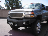 2003-2007 GMC 2500/3500 Front Base Bumper - Iron Bull Bumpers - FRONT IRON BUMPER - Metal bumper for heavy duty trucks Perfect for CITY/OFF-ROAD applications with Light Buckets and Winch Mount included