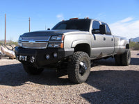2003-2007 Chevrolet 2500/3500 Front Base Bumper - Iron Bull Bumpers - FRONT IRON BUMPER - Metal bumper for heavy duty trucks Perfect for CITY/OFF-ROAD applications with Light Buckets and Winch Mount included