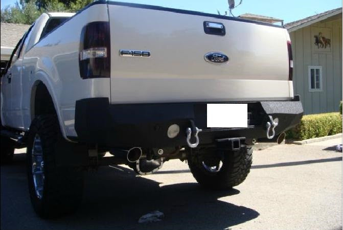 2004-2008 Ford F-150 Rear Base Bumper With Sensor Holes - Iron Bull Bumpers - REAR IRON BUMPER - Metal bumper for heavy duty trucks Perfect for CITY/OFF-ROAD applications with Light Buckets and Winch Mount included